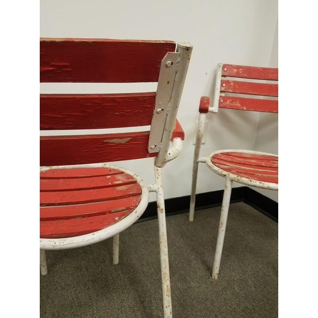 Red-Painted Garden Chairs - Set of 4 - Image 4 of 6