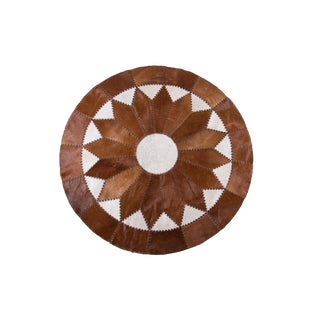 Handmade Cowhide Patchwork Area Round Rug - 5'11""