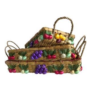 Vintage Fruit Motif Nesting Baskets - Set of 3