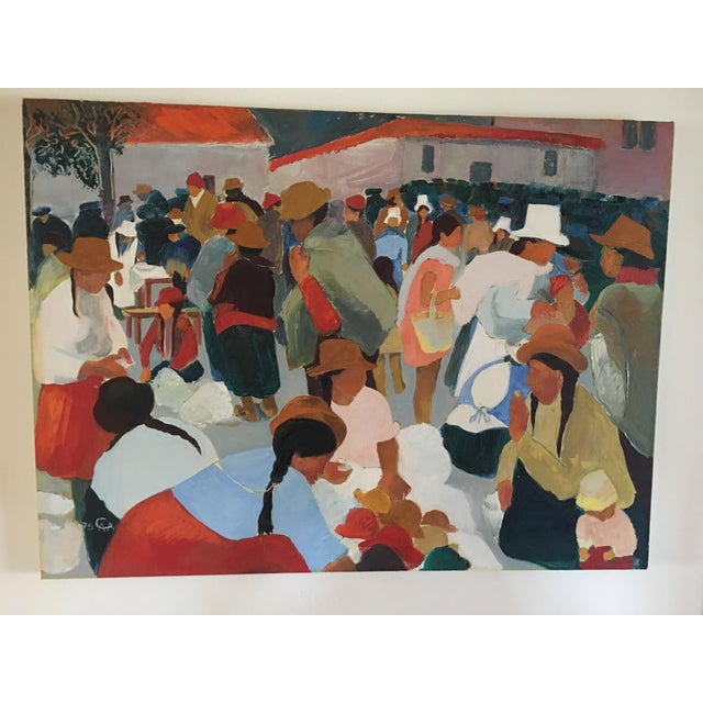 Modern Contemporary Colorful Market Scene Oil Painting - Image 3 of 7