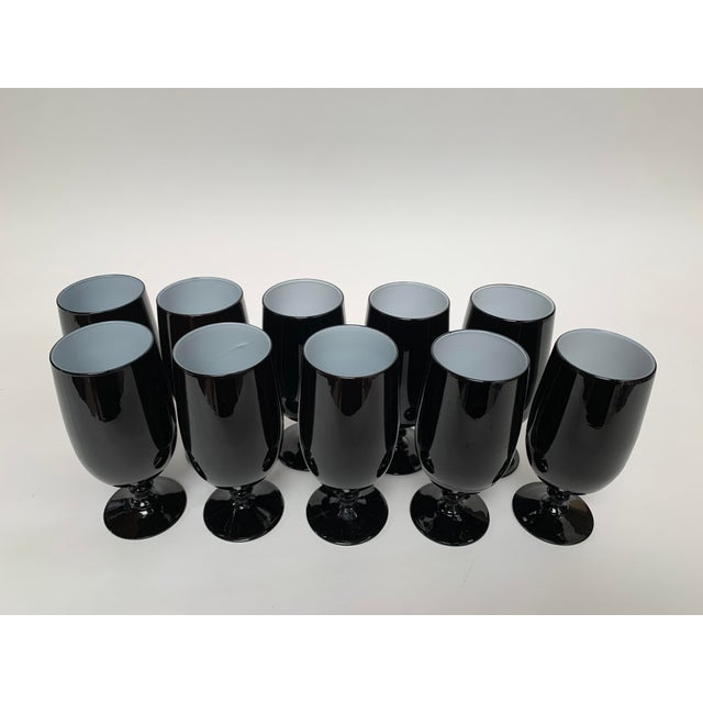 1960s 1960s Carlo Moretti Black and White Cased Glass Goblets - Set of 10 For Sale - Image 5 of 12