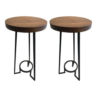 Modernist Bauhaus French Brutal Steel Pair of Side Tables For Sale