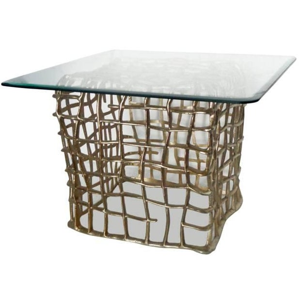 Square Aluminium Side Table With Glass Top - Image 2 of 3