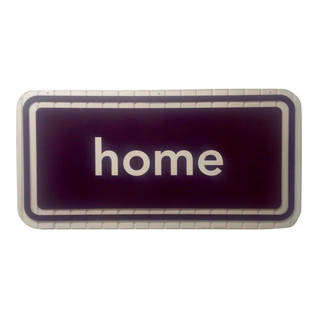 Acrylic or Lucite Double Sided Home Sign Clear & Burnt Umber For Sale
