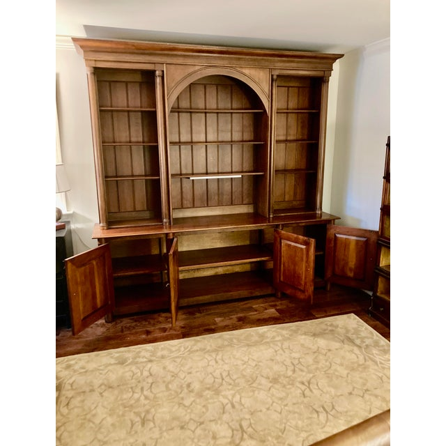 Grand Henredon cherry triple bookcase credenza breakfront having bottom credenza with 4 panel doors and tons of storage,...