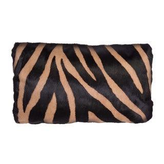 Pair of Zebra Stencil Printed Cowhide Lumbar Pillows For Sale