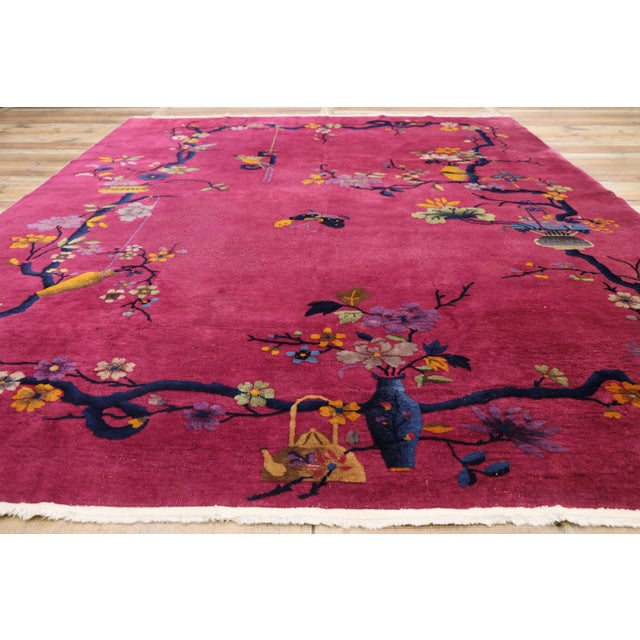 Textile 1920s Antique Chinese Art Deco Rug - 8′10″ × 11′7″ For Sale - Image 7 of 10