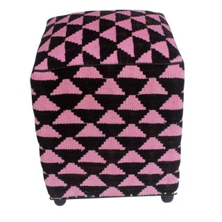 Arshs Dick Black/Pink Kilim Upholstered Handmade Ottoman For Sale