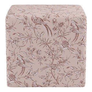 Cube Ottoman in Blush Aviary By Scalamandre For Sale