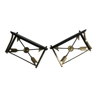 Pair of Neoclassical Brass and Wood Brackets For Sale