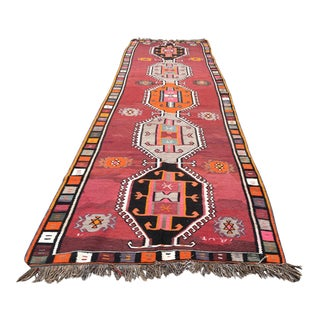 1970s Vintage Turkish Kars Kilim Rug - 4′9″ × 14′11″ For Sale