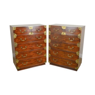 Henredon Asian Inspired Vintage Pair Mahogany Campaign Style Tall Chests For Sale
