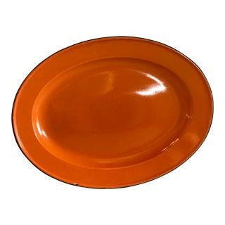 Vintage Large Orange Enamel Platter For Sale