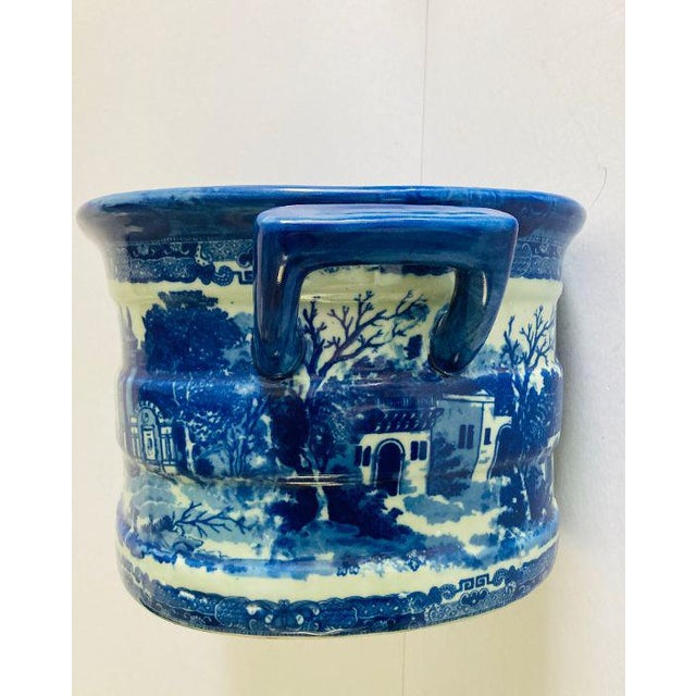 2010s Modern Victorian Style Large Blue & White Porcelain Victoria Ware Ironstone Planter For Sale - Image 5 of 7