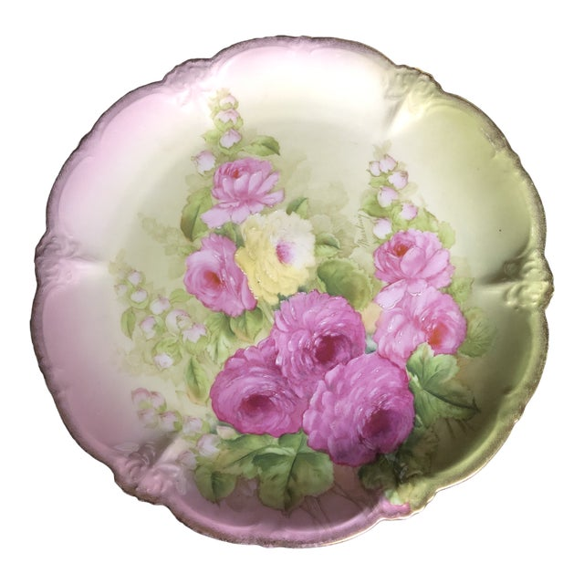 Vintage Hand Painted and Signed Vintage Bavarian Charger Plate For Sale