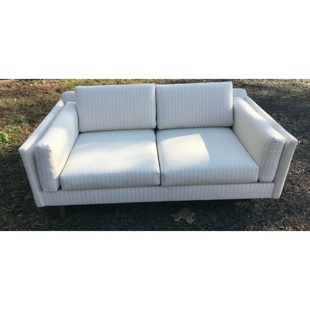 Mid-Century Modern White Linen Sofas - a Pair - Image 5 of 7