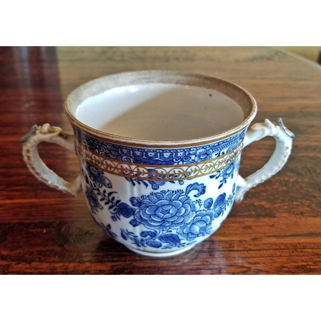 White 18th Century Continental 2 Handled Blue and White Mug With Gilding For Sale - Image 8 of 11