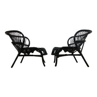 Midcentury Boho Chic Franco Albini Lacquered Bamboo & Rattan Sculptural Lounge Chairs - a Pair For Sale