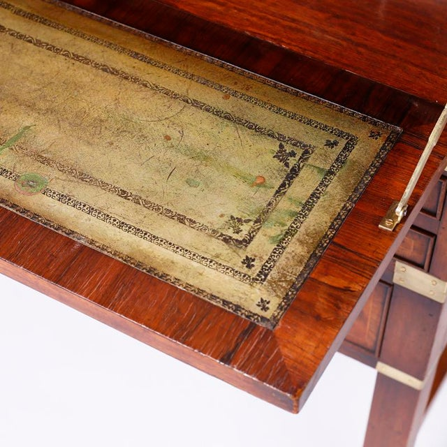 Brown English Campaign Secretary Chest on Stand For Sale - Image 8 of 10