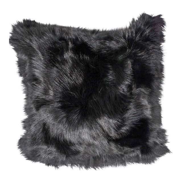 Genuine Double-Sided Black Fox Pillows For Sale