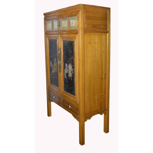 Mid 20th Century Early 20th Century Chinese Lacquered Armoire With Gilt Carved Warrior Motifs For Sale - Image 5 of 13
