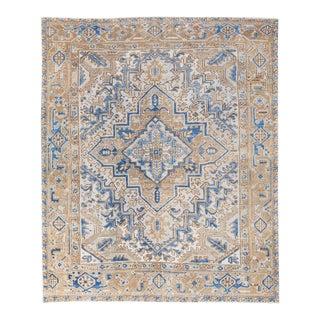 Antique Persian Heriz Beige and Blue Handmade Medallion Designed Wool Rug For Sale