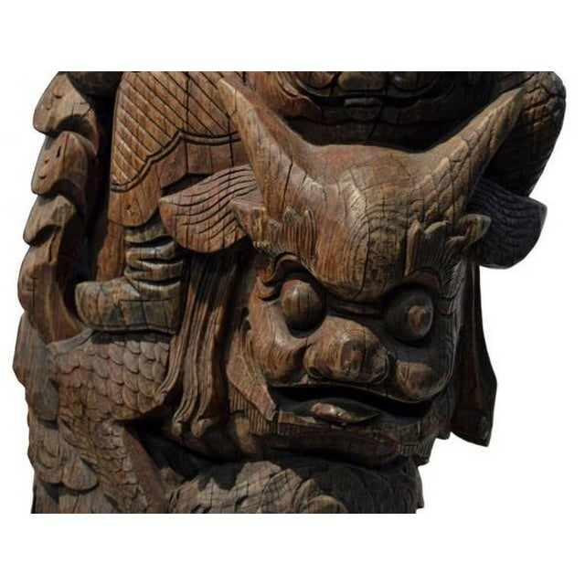 Pair of Antique Hand-Carved Wood Temple Corbels From China, 19th Century For Sale - Image 9 of 11