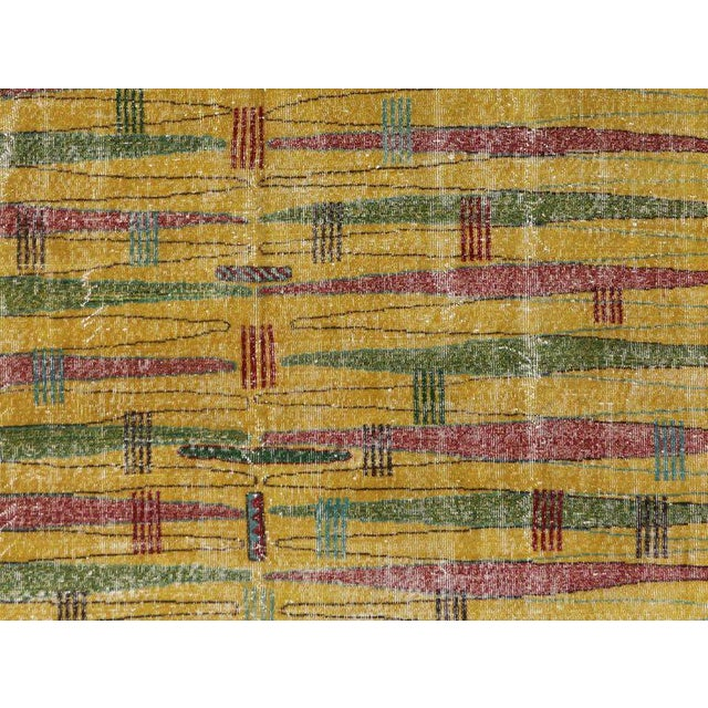 Zeki Müren Turkish Contemporary Vintage Rug with Art Deco Style For Sale - Image 5 of 8