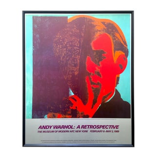 "Andy Warhol Estate Rare Vintage 1989 Iconic Moma Exhibition Lithograph Print Framed Pop Art Poster "" Self Portrait "" 1967 For Sale"