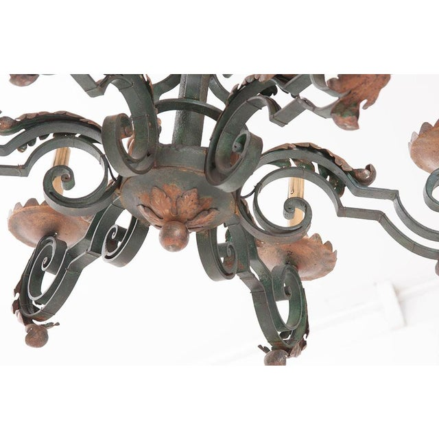 French 19th Century Painted Iron Chandelier - Image 6 of 7