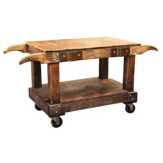 Industrial Wooden Cart Table or Counter For Sale