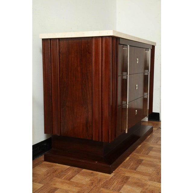 Art Deco Rosewood Commode With Three Drawers and Travertine Top, France, 1940s For Sale In New York - Image 6 of 8