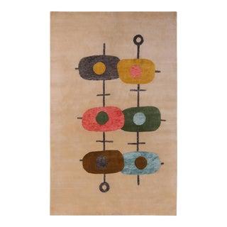 Rug & Kilim's Mid-Century Modern Style Beige Multicolor Geometric Wool and Silk Rug For Sale
