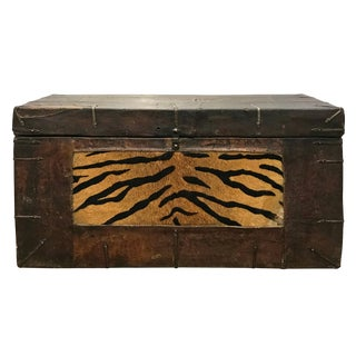 """19th Century Tibetan Leather """"Tiger"""" Trunk For Sale"""