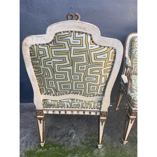 Off-white Early 19th C. Italian Painted Carved Arm Chairs- A Pair For Sale - Image 8 of 12