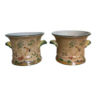 Vintage Ceramic Cachepots With Birds - a Pair For Sale