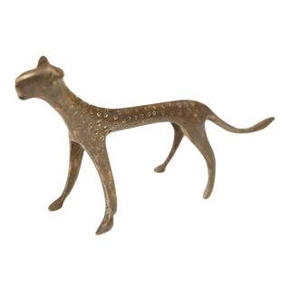 Mid 20th Century African Dark Bronze Cheetah For Sale