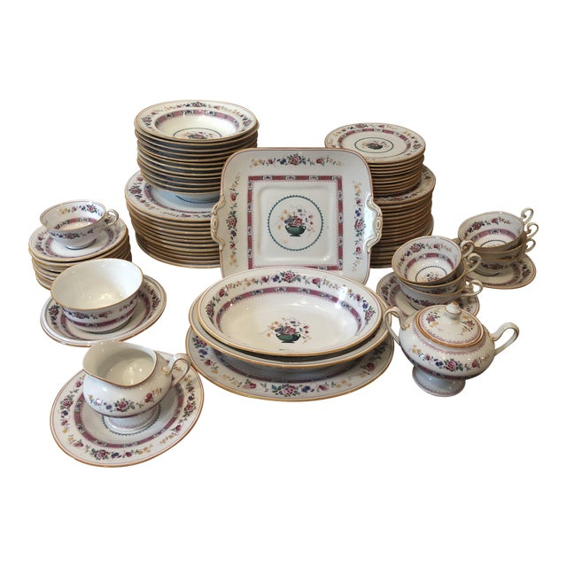 """English Royal Doulton """"Urn"""" Pattern Dinner Set - 80 Pieces For Sale"""