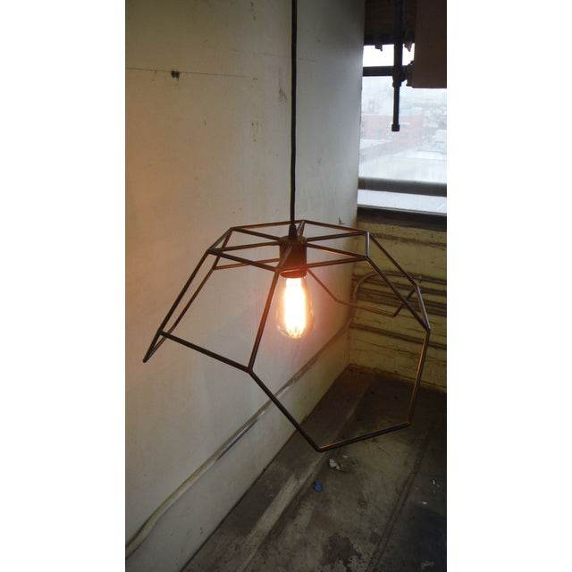 Bronze and Steel Hexa-Pyramid Pendant Light For Sale - Image 4 of 5