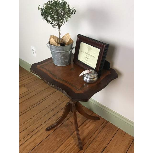 Victorian Antique Petite Tilt Top Table With Leather For Sale - Image 3 of 8