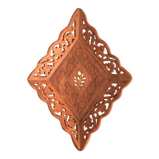 1940s Syrian Mother of Pearl Inlay Carved Tray For Sale