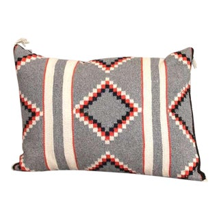 Navajo Indian Two Grey Hills Hand Woven Geometic Pillow For Sale