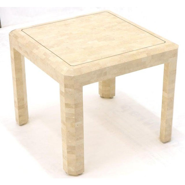 Tesselated Stone Brass Inlay Square Side End Table For Sale - Image 11 of 12