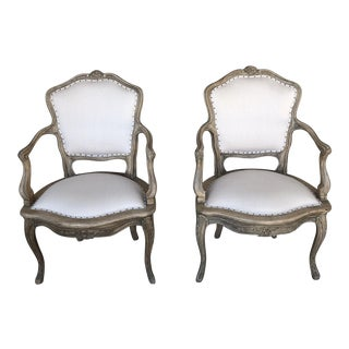 Vintage Linen Upholstered French Chairs - A Pair For Sale