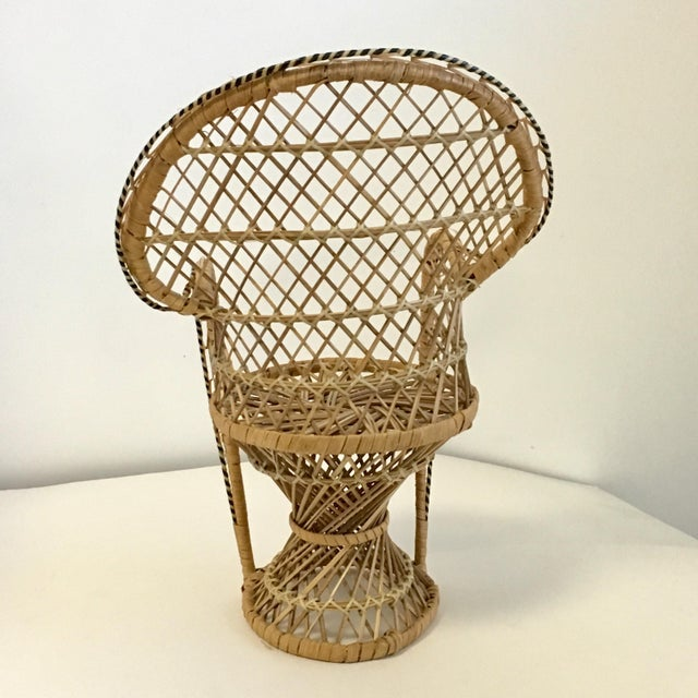 Vintage Boho Wicker Chair Plant Stands - A Pair For Sale - Image 4 of 7