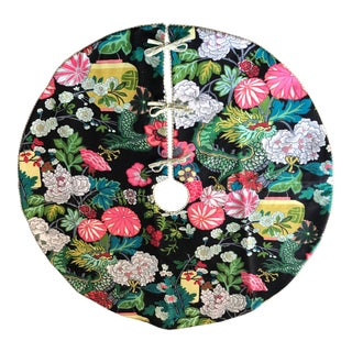 Japanese Inspired Floral Christmas Tree Skirt For Sale