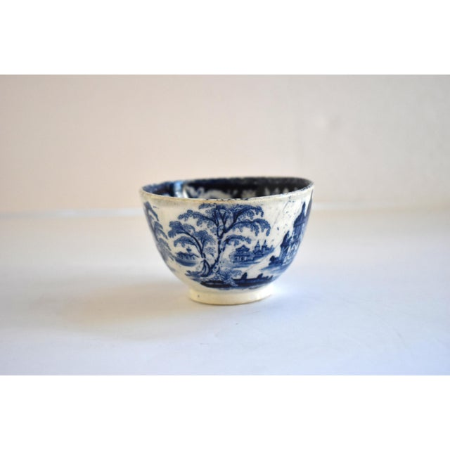 Victorian Antique Georgian C. 1815 Staffordshire Blue Transferware Tea Bowl For Sale - Image 3 of 10
