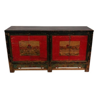 Antique Red Mongolian Sideboard For Sale