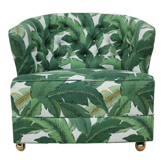 1940s Vintage Tufted Palm Leaf Club Chair