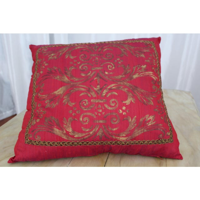 Paint Isabelle H. Fortuny Style Hand-Painted Cherry Pillow Cover For Sale - Image 7 of 8
